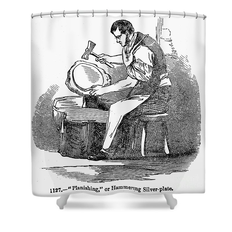 19th Century Shower Curtain featuring the photograph Jewelry: Planishing by Granger