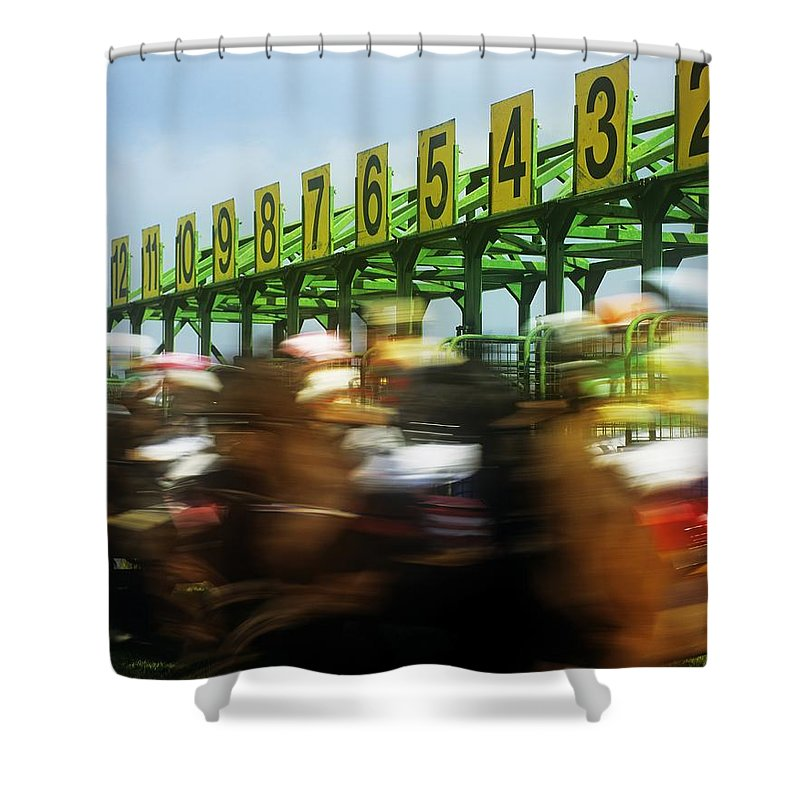 Beginnings Shower Curtain featuring the photograph Jockeys Leaving Starting Gates by The Irish Image Collection