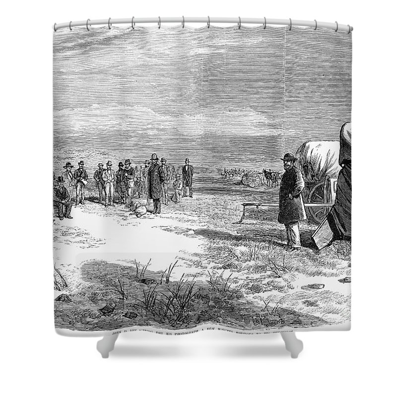 1877 Shower Curtain featuring the photograph John Doyle Lee (1812-1877) by Granger