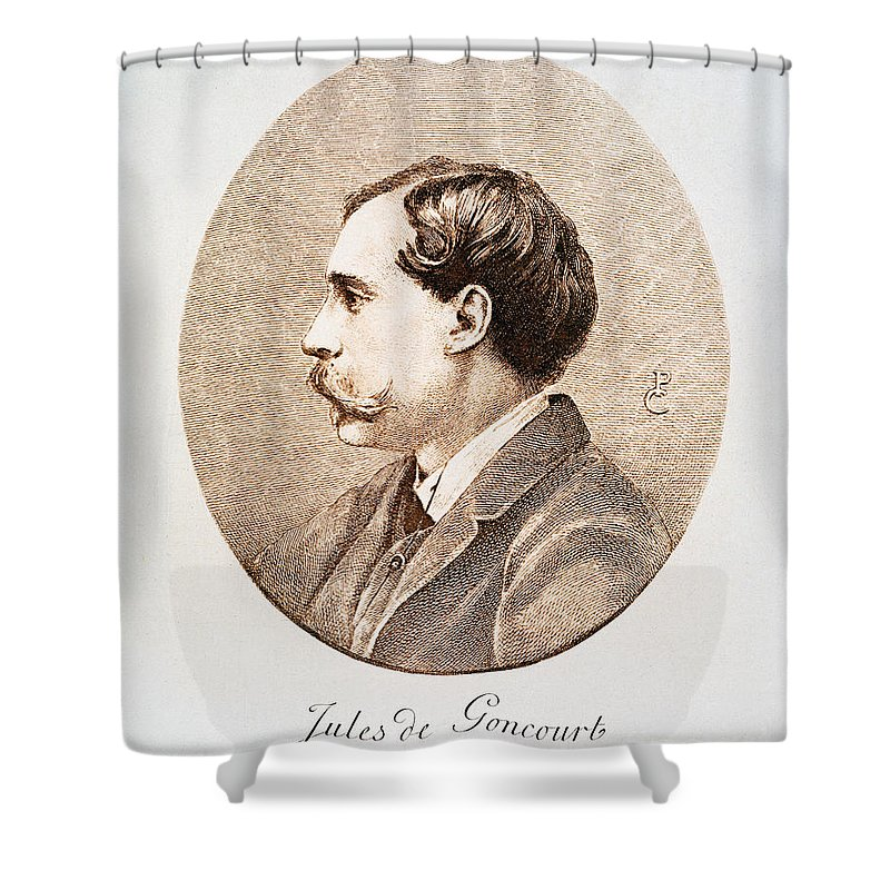 19th Century Shower Curtain featuring the photograph Jules A.h. De Goncourt (1830-1870). French Novelist: Engraving After A Contemporary Portrait On Enamel by Granger