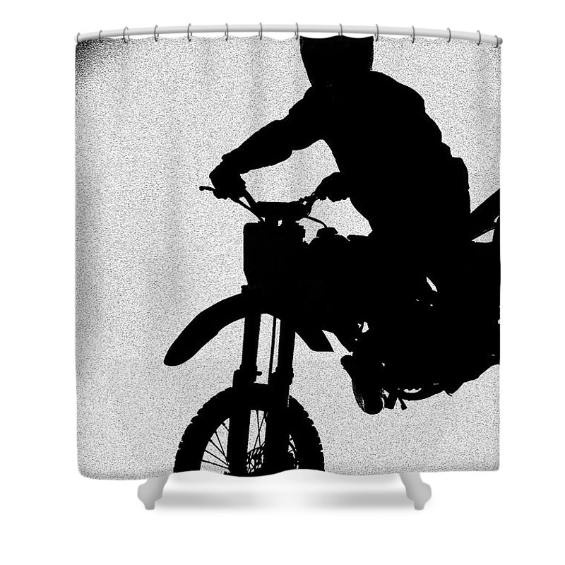 Motorcycle Shower Curtain featuring the photograph Jumping High by Carolyn Marshall
