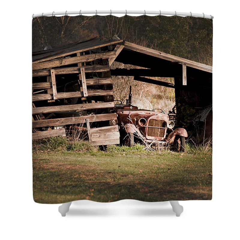 Old Car Shower Curtain featuring the photograph Just An Old Car Tucked Away by Randall Branham