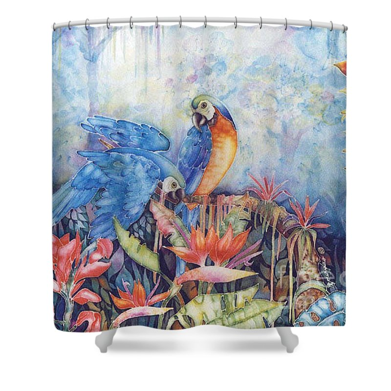 Bird Shower Curtain featuring the painting Just Dropping By... by Deborah Younglao