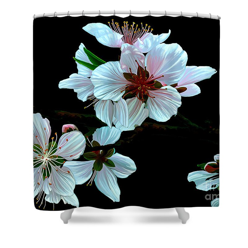 Fine Art Shower Curtain featuring the painting Just Peachy by Patricia Griffin Brett