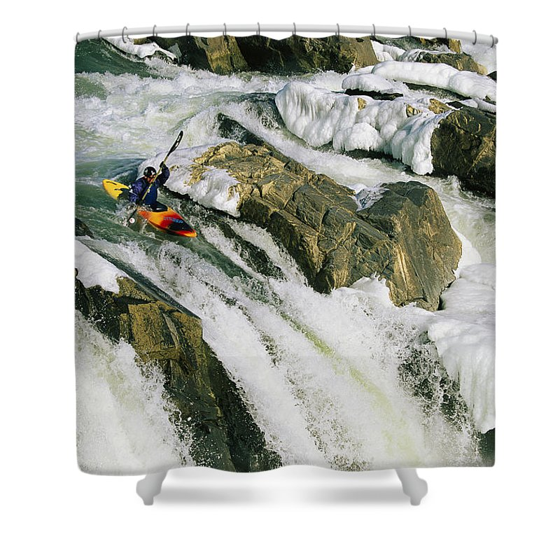 North America Shower Curtain featuring the photograph Kayaker At The Top Of A Waterfall by Skip Brown