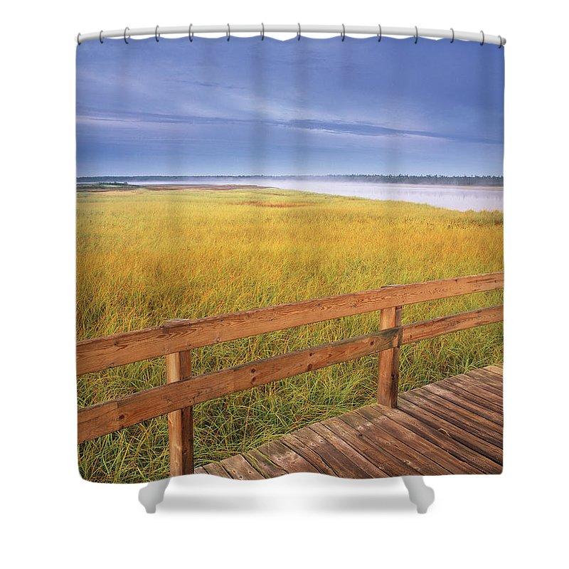 Light Shower Curtain featuring the photograph Kellys Beach Boardwalk, Kouchibouguac by Darwin Wiggett