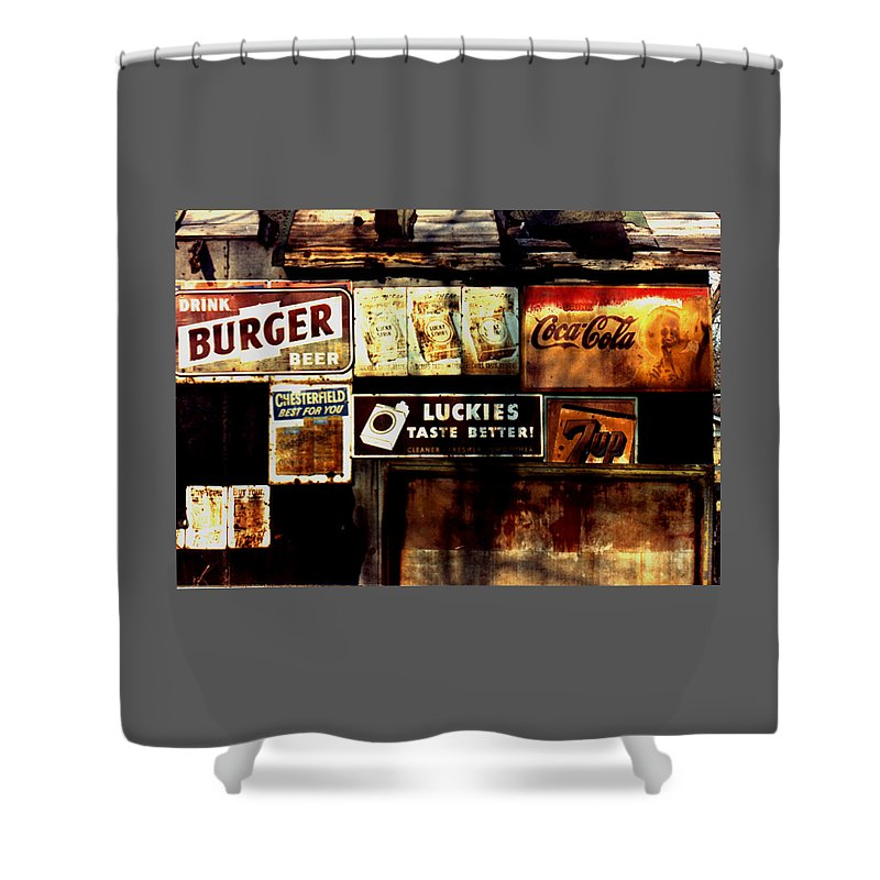 Old Products Shower Curtain featuring the photograph Kentucky Shed Ad Signs by Tom Wurl