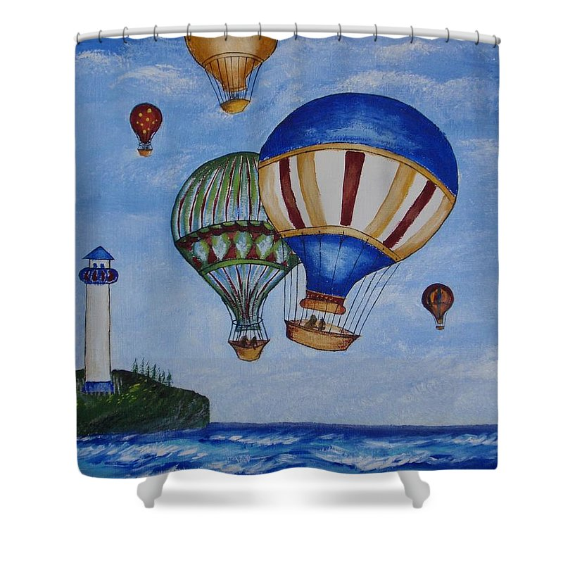 Painting Shower Curtain featuring the painting Kid's Art- Balloon Ride by Tatjana Popovska