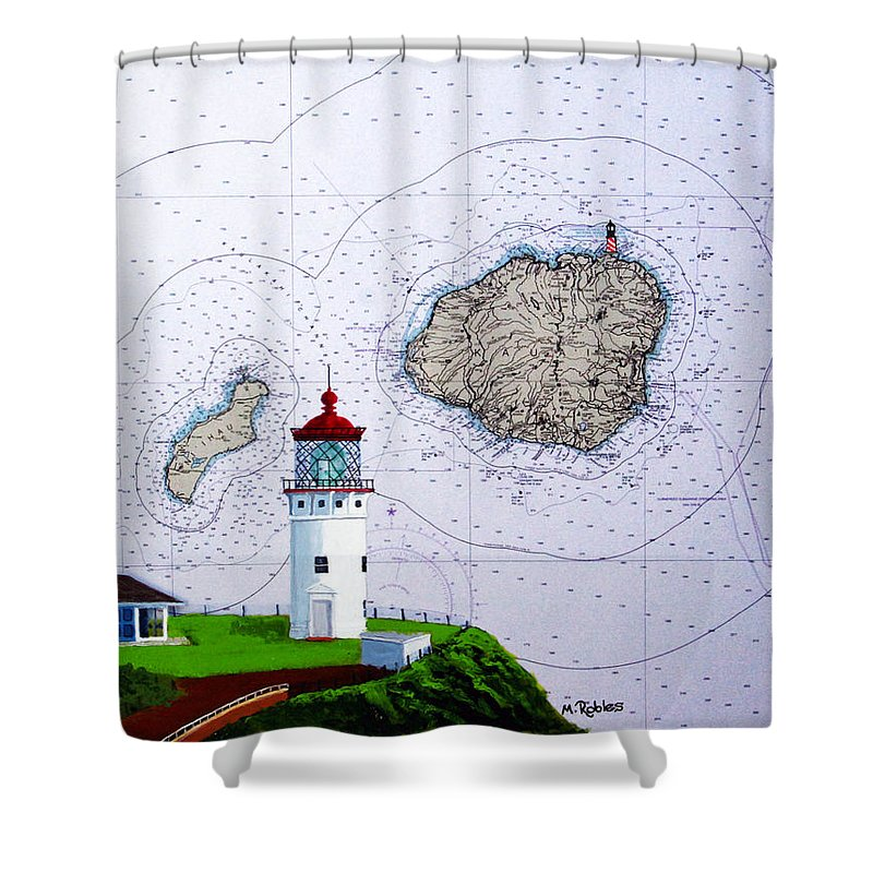 Kilauea Shower Curtain featuring the painting Kilauea Point Lighthouse On Noaa Chart by Mike Robles