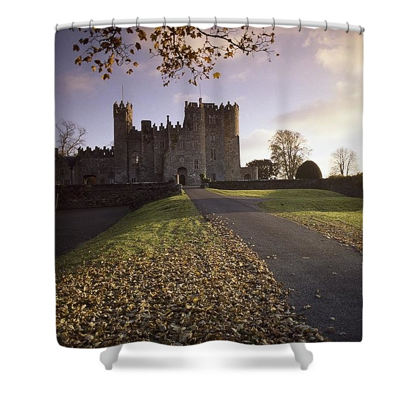 Day Shower Curtain featuring the photograph Kilkea Castle, Co Kildare, Ireland Road by The Irish Image Collection