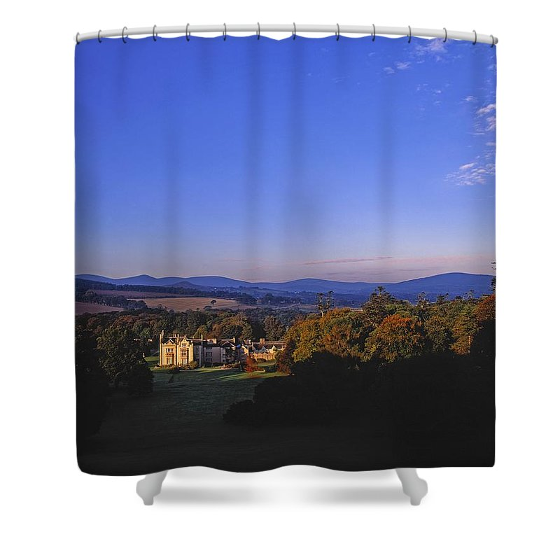 Blue Sky Shower Curtain featuring the photograph Kilruddery Demesne, From The Rockery by The Irish Image Collection