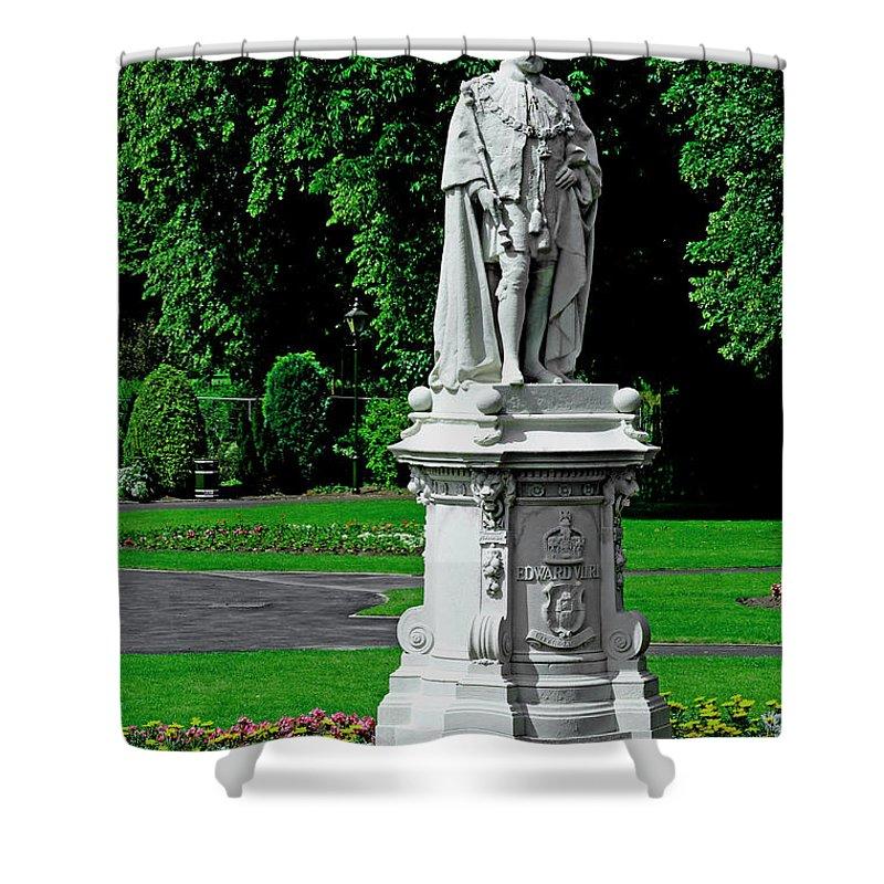 Lichfield Shower Curtain featuring the photograph King Edward Vii Statue - Lichfield by Rod Johnson