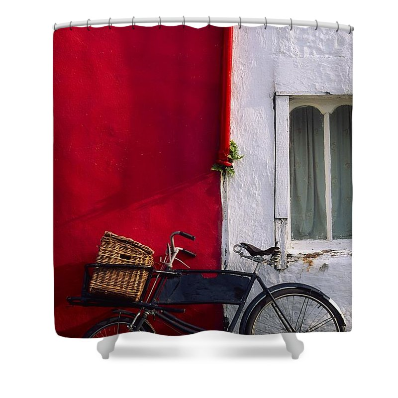 Bicycle Shower Curtain featuring the photograph Kinsale, Co Cork, Ireland Bicycle by The Irish Image Collection