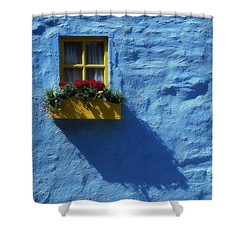 Blue Shower Curtain featuring the photograph Kinsale, Co Cork, Ireland Cottage Window by The Irish Image Collection