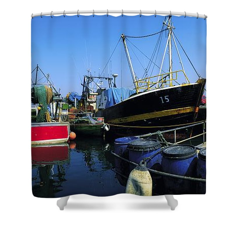 Barrell Shower Curtain featuring the photograph Kinsale, Co Cork, Ireland Fishing Boats by The Irish Image Collection