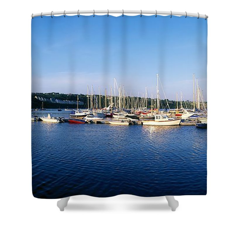 Blue Sky Shower Curtain featuring the photograph Kinsale, Co Cork, Ireland Moored Boats by The Irish Image Collection