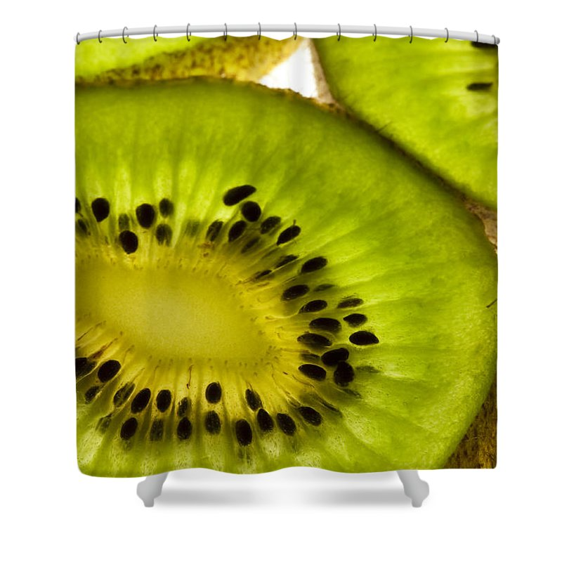 Kiwi Shower Curtain featuring the photograph Kiwi Fruit Macro 5 by John Brueske