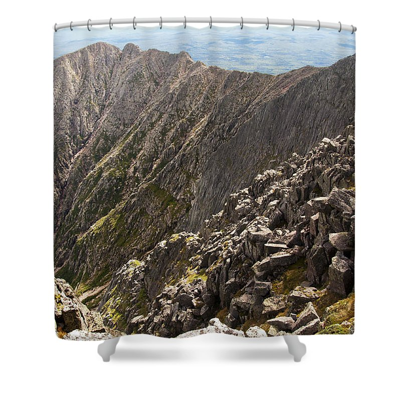 Cliff Shower Curtain featuring the photograph Knife Edge Mount Katahdin Baxter State Park by Glenn Gordon