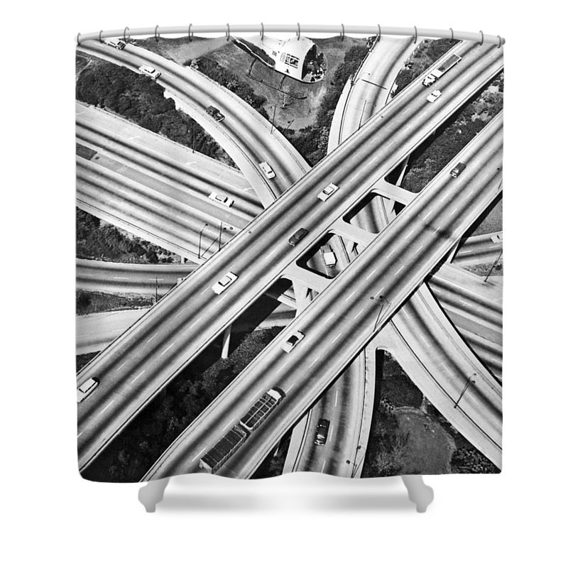 1960's Shower Curtain featuring the photograph La Freeway Interchange by Underwood Archives