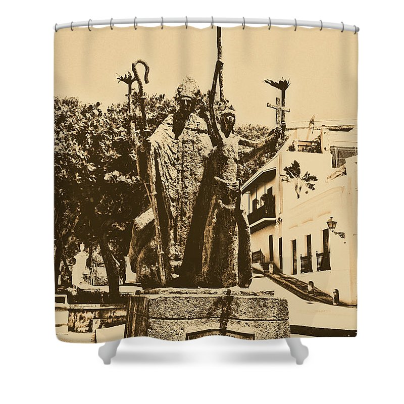 Old San Juan Shower Curtain featuring the digital art La Rogativa Sculpture Old San Juan Puerto Rico Rustic by Shawn O'Brien