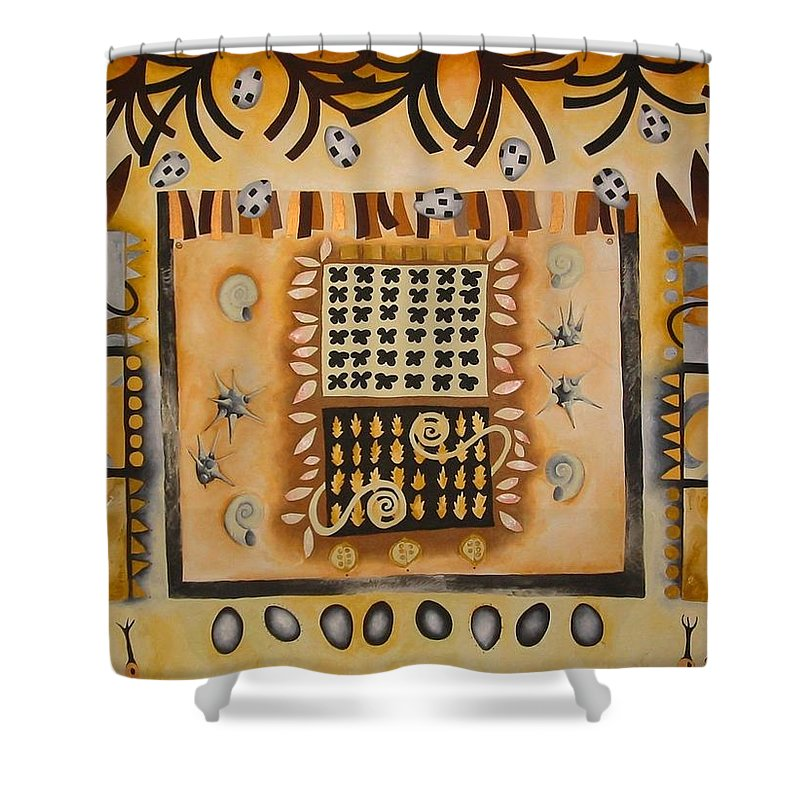 Whimsical Shower Curtain featuring the painting La Tierra by Elizabeth Elequin