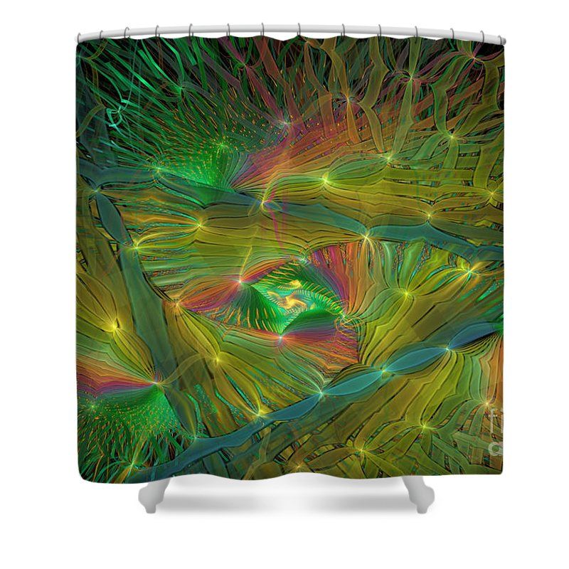 Rainbow Colors Shower Curtain featuring the digital art Lacy Rainbow Triangle by Deborah Benoit