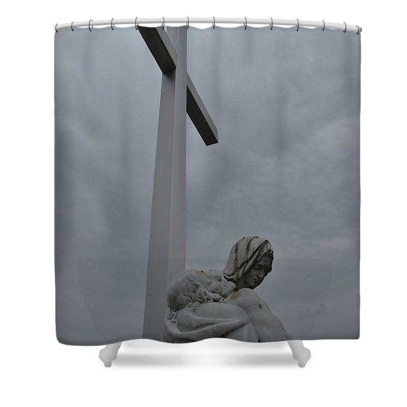 Lady Of Calvery Shower Curtain featuring the photograph Lady And Cross by Michele Nelson