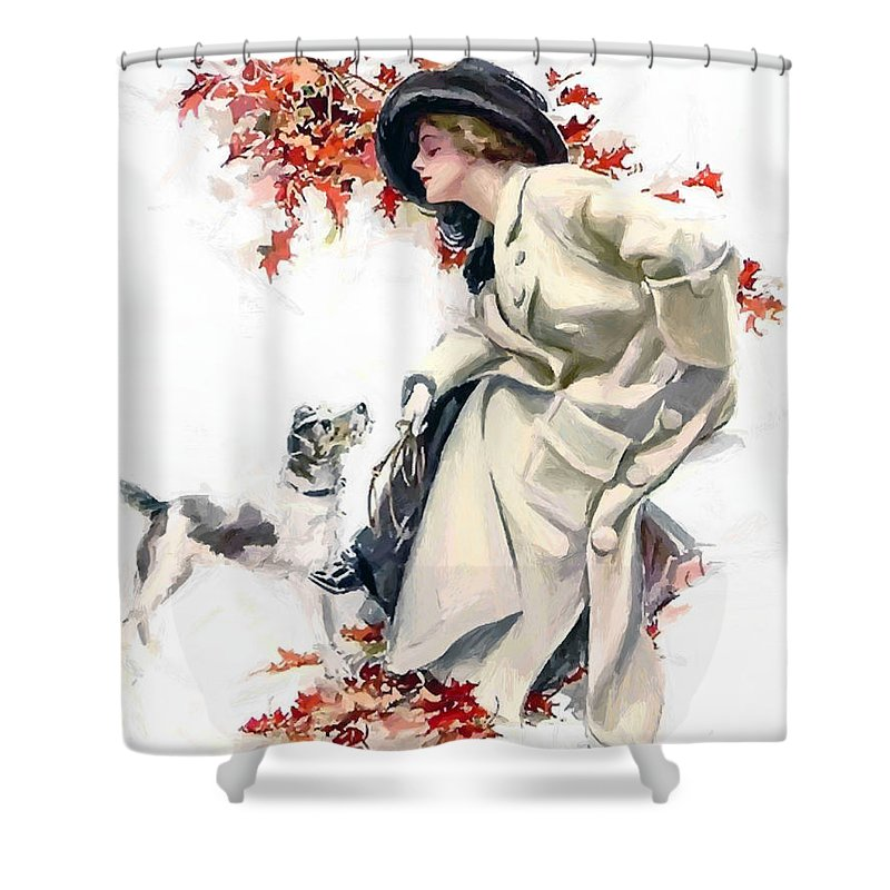 Lady Woman Dog Leaves Leaf Tree Autumn Red Hat Portrait Expressionism Painting Vintage Shower Curtain featuring the painting Lady With Dog by Steve K