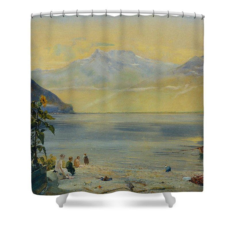 Lake Leman With The Dents Du Midi In The Distance Shower Curtain featuring the painting Lake Leman With The Dents Du Midi In The Distance by John William Inchbold