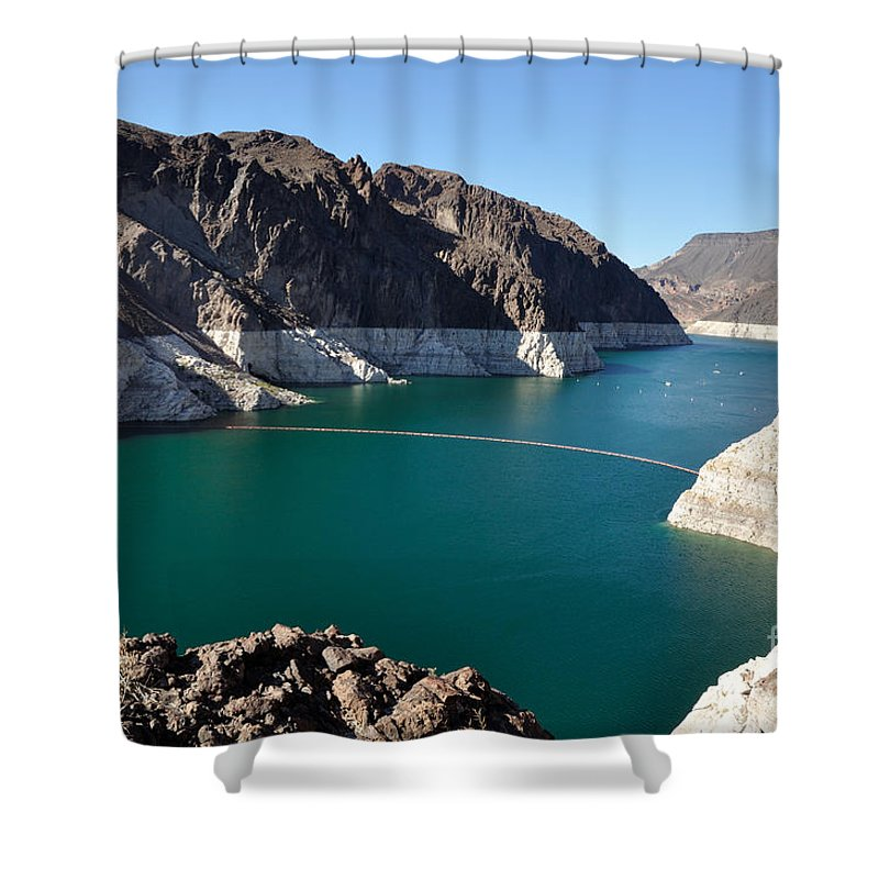 Lake Shower Curtain featuring the photograph Lake Mead By Hoover Dam by Gary Whitton