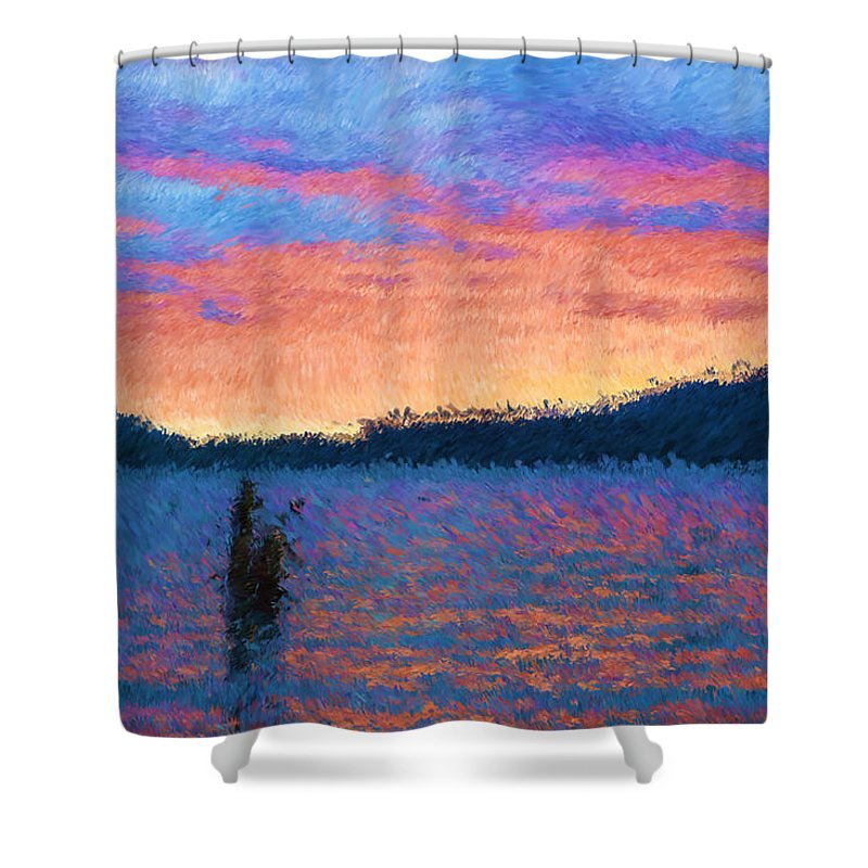 Lake Shower Curtain featuring the photograph Lake Quinault Sunset - Impressionism by Heidi Smith