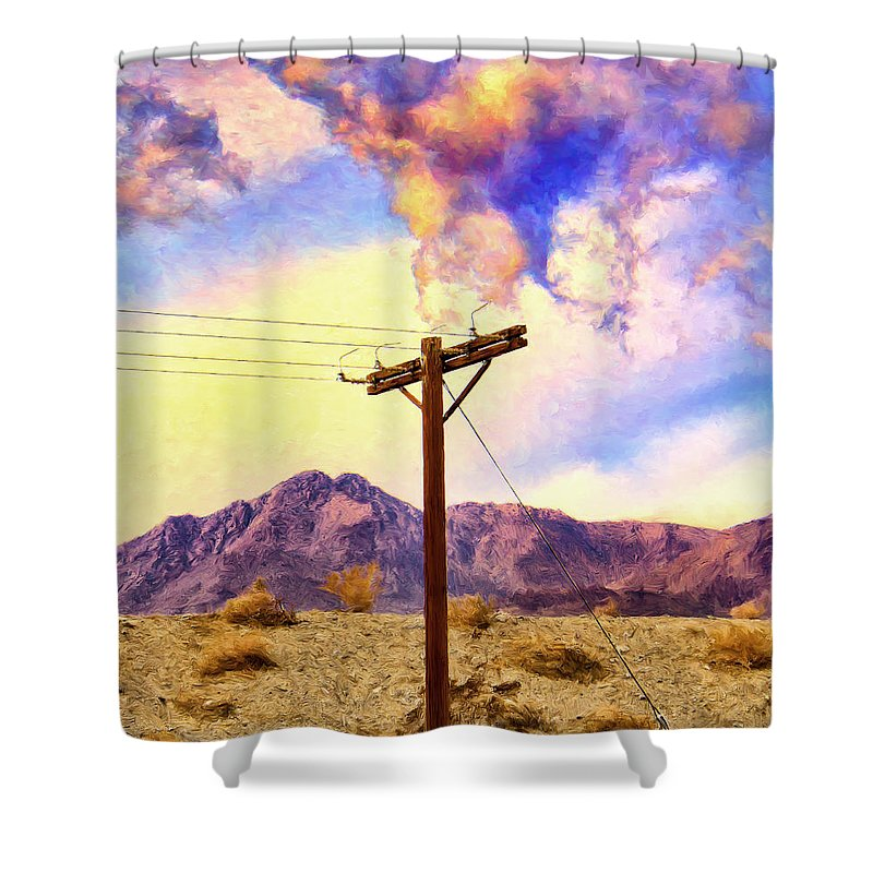 Land Line Shower Curtain featuring the painting Land Line by Dominic Piperata