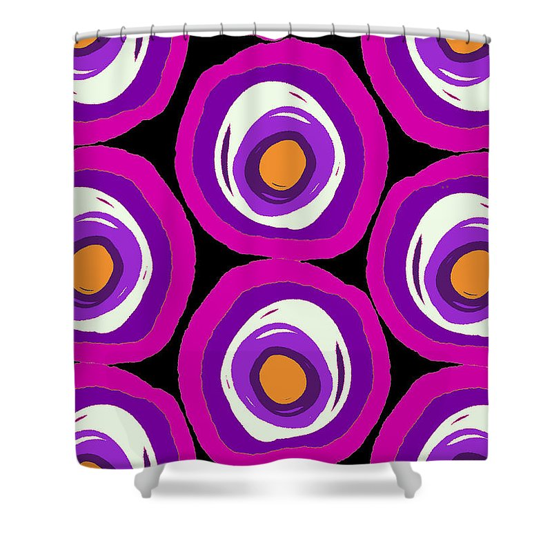 Large Scale Spots (digital) By Louisa Knight (contemporary Artist) Shower Curtain featuring the digital art Large Scale Spots by Louisa Knight