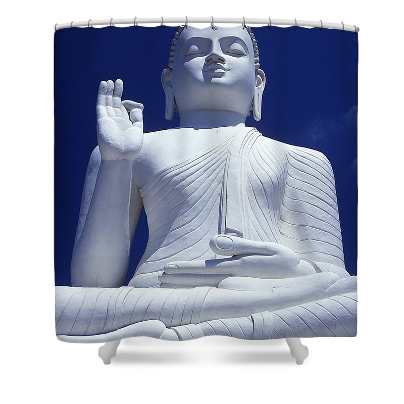 White Shower Curtain Featuring The Photograph Large Seated Buddha By Axiom Photographic