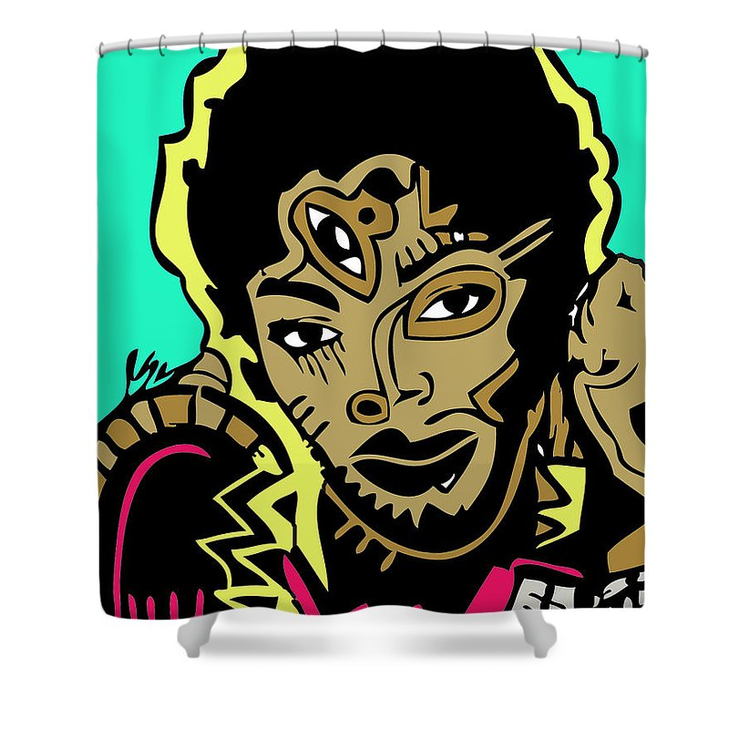 Fugees Shower Curtain featuring the digital art Lauren Hill Full Color by Kamoni Khem