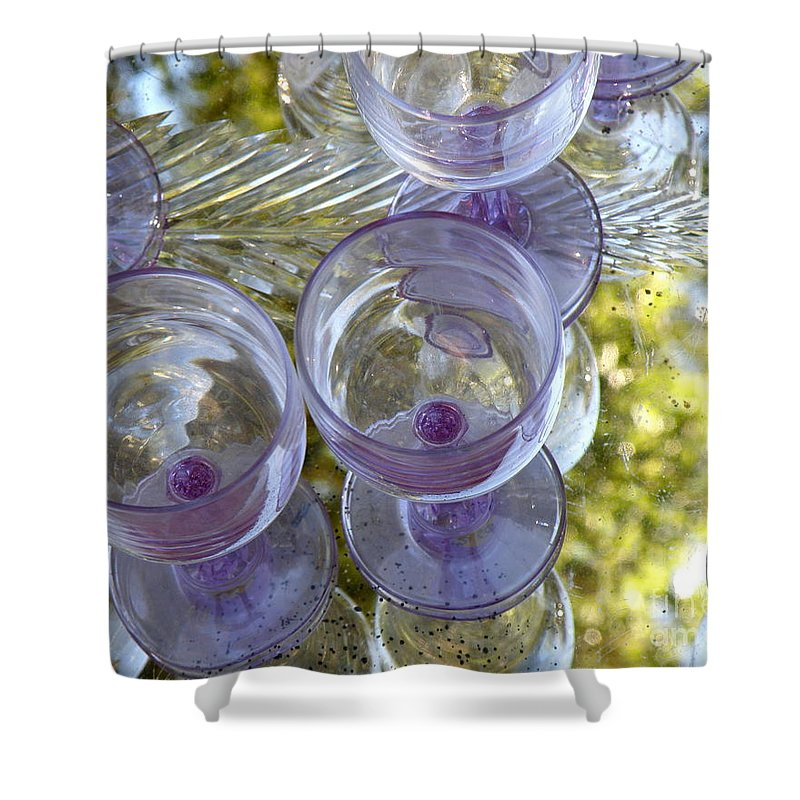 Glasses Shower Curtain featuring the photograph Lavender Wine Glasses by Lainie Wrightson