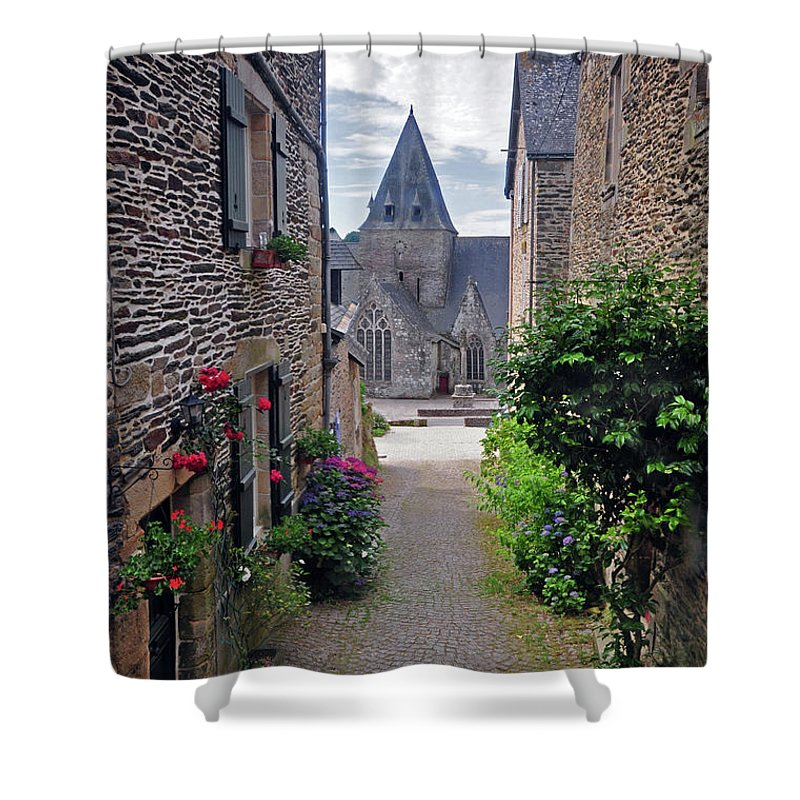 Church Shower Curtain featuring the photograph Leading To The Church Provence France by Dave Mills