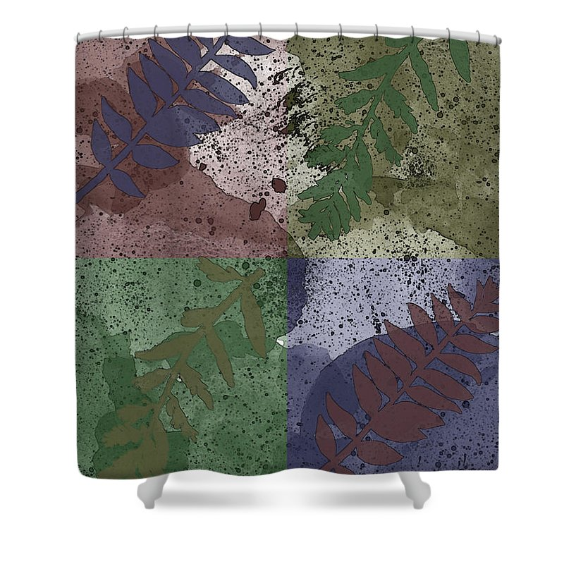 Nature Shower Curtain featuring the digital art Leaf Boxes by Debbie Portwood