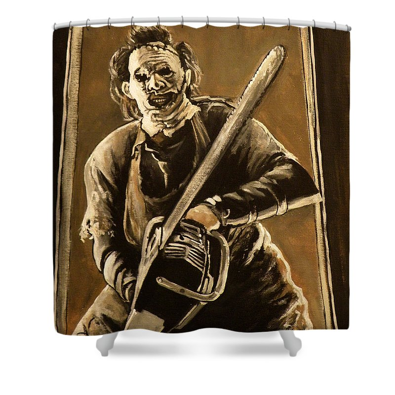 Texas Chainsaw Massacre Shower Curtain featuring the painting Leatherface by Tom Carlton