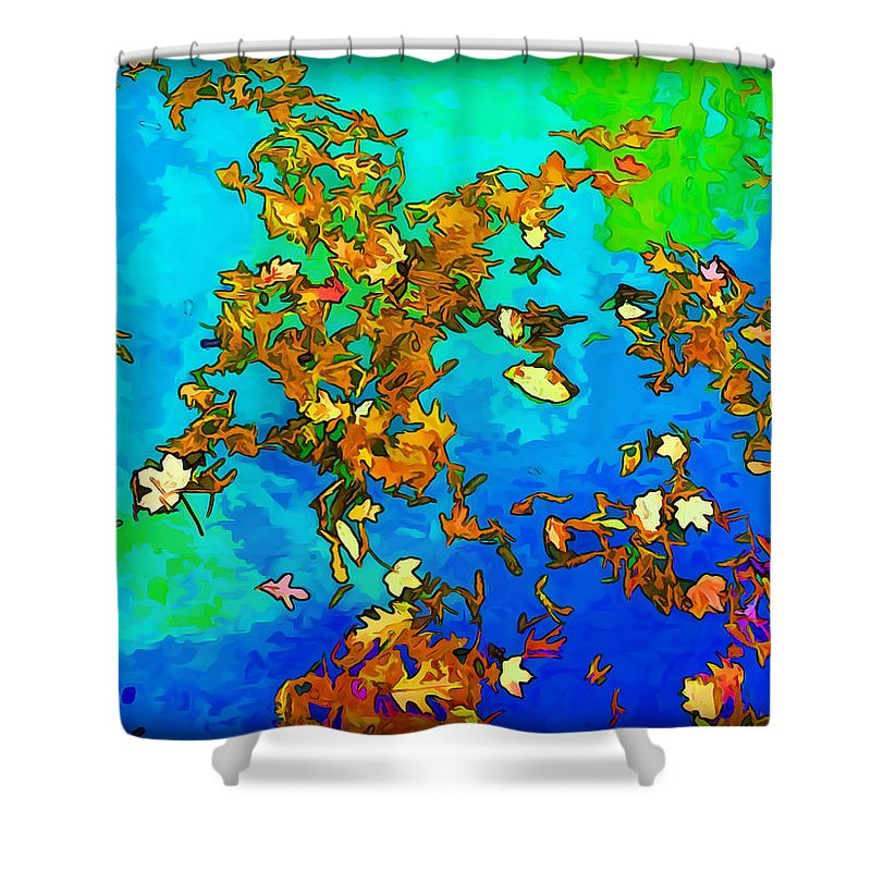 Leaves Shower Curtain featuring the photograph Leaves In A Pond by Joan Minchak