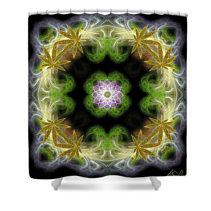 Leaves Shower Curtain featuring the digital art Leaves Of Gold by Diana Haronis
