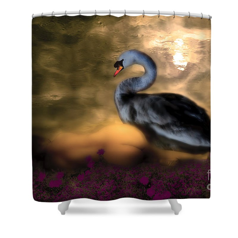 Leda Shower Curtain featuring the digital art Leda And The Swan by Rosa Cobos