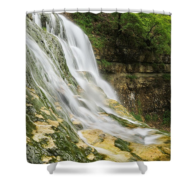 Les Shower Curtain featuring the photograph Les Cascades Du Herisson-jura-france by Mircea Costina Photography