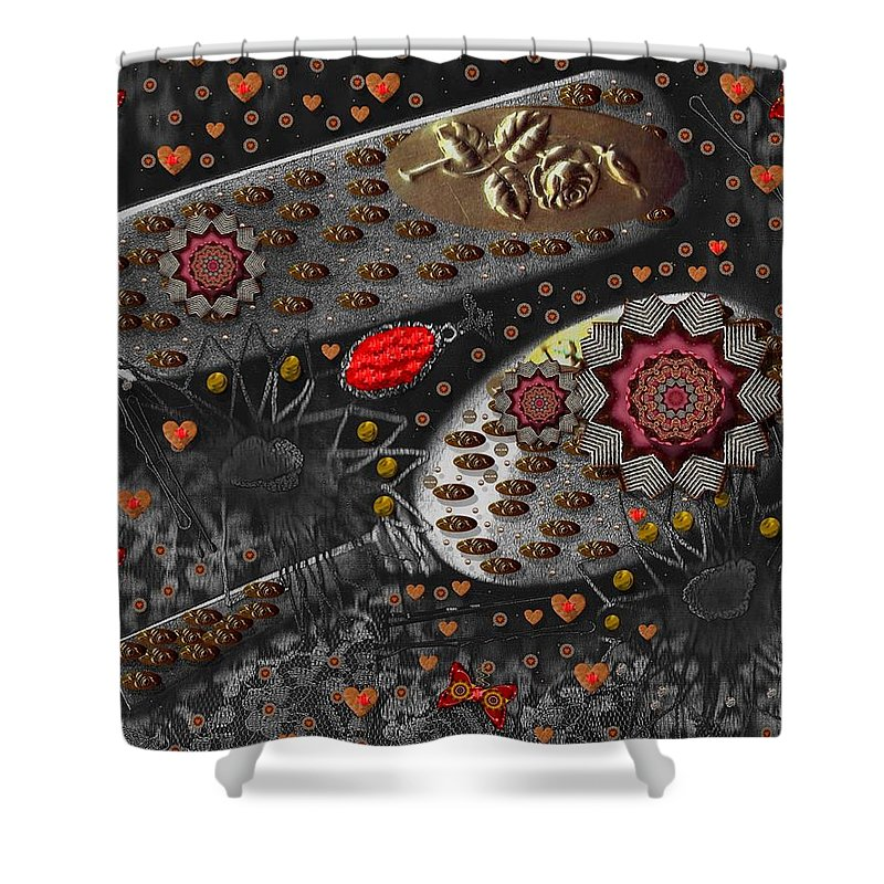 Combs Shower Curtain featuring the mixed media Liberation And Cookies by Pepita Selles