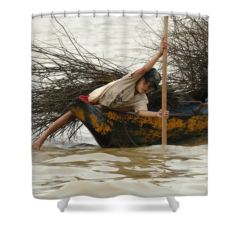 Travel Shower Curtain featuring the photograph Life On Lake Tonle Sap 3 by Bob Christopher