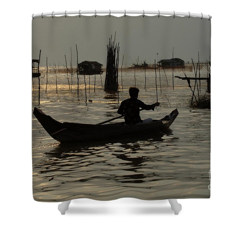 Travel Shower Curtain featuring the photograph Life On Lake Tonle Sap 7 by Bob Christopher