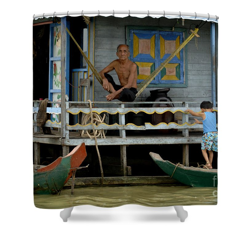 Travel Shower Curtain featuring the photograph Life On Lake Tonle Sap 8 by Bob Christopher
