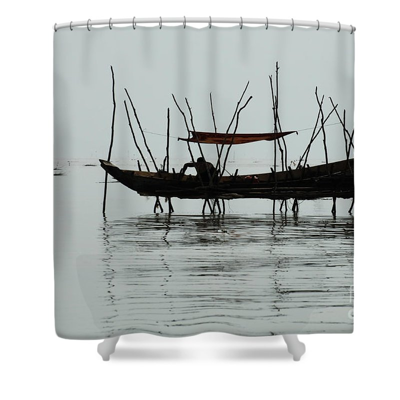 Travel Shower Curtain featuring the photograph Life On Lake Tonle Sap by Bob Christopher