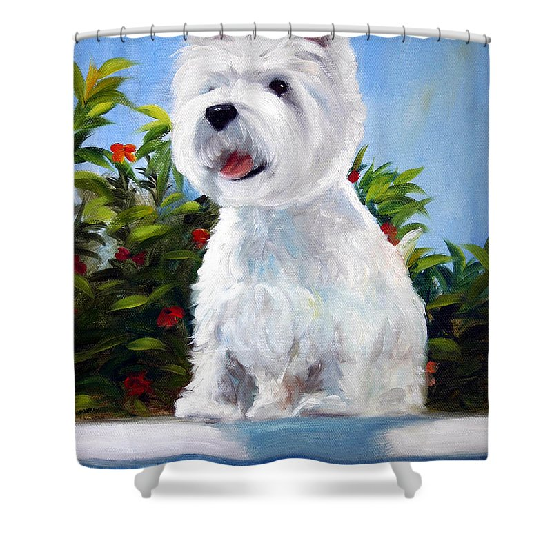 Art Shower Curtain featuring the painting Lifeguard On Duty by Mary Sparrow