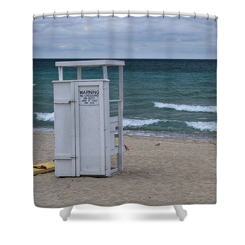 Art Shower Curtain featuring the photograph Lifeguard Station At The Beach by Randall Nyhof